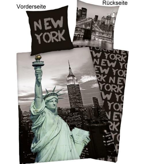 new york bettw sche 135x200cm baumwolle verschiedene motive neu ebay. Black Bedroom Furniture Sets. Home Design Ideas