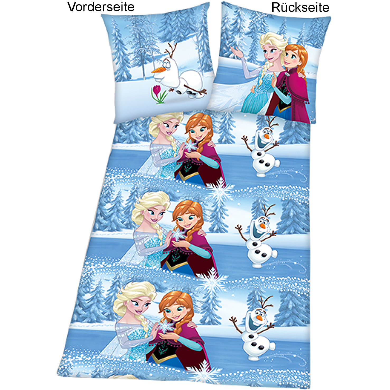 eisk nigin bettw sche 135x200 flanell biber linon olaf frozen disney schneemann ebay. Black Bedroom Furniture Sets. Home Design Ideas