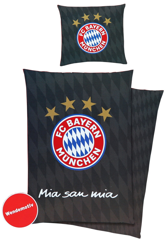 Fc Bayern München Bettwäsche Mia San Mia Schwarz