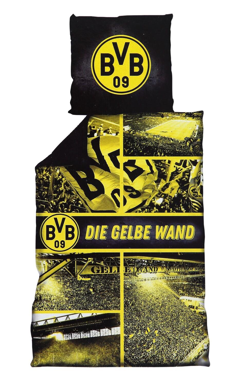Bvb Borussia Dortmund Bettwäsche Gelbe Wand 135x200cm Biber