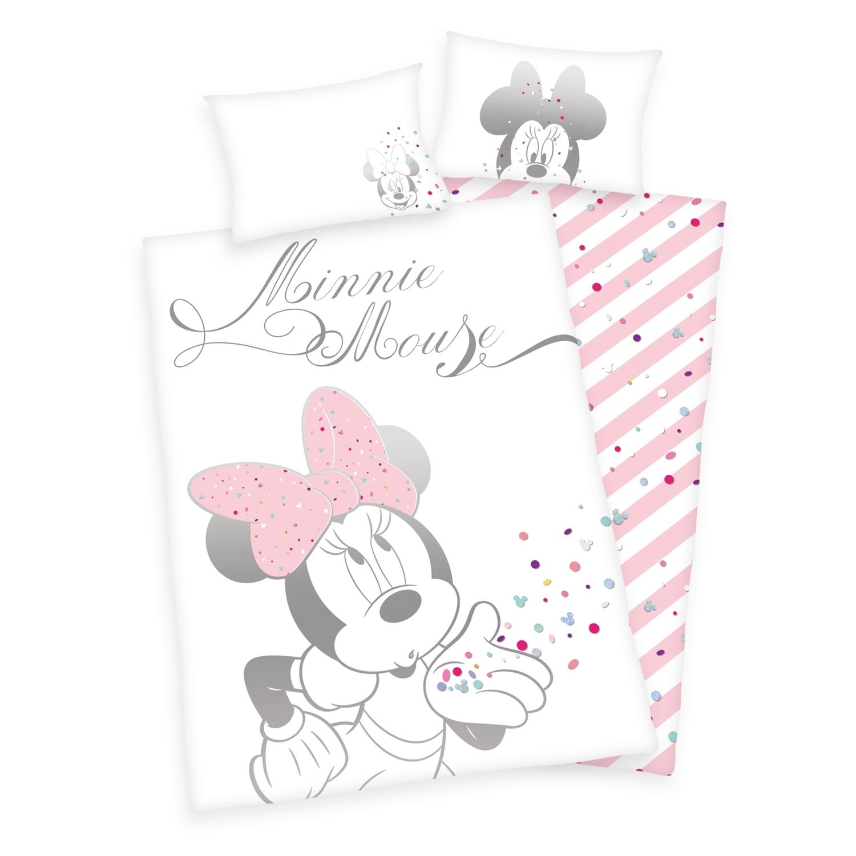 Minnie Mouse Baby Bettwäsche Weiß Rosa 100x135cm Renforce