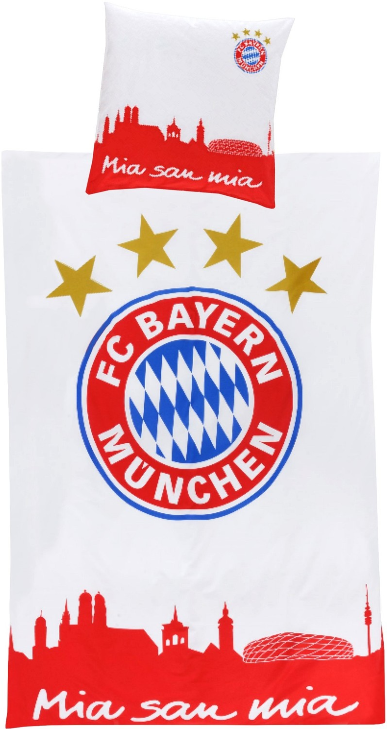 fc bayern m nchen bettw sche mia san mia 135x200cm. Black Bedroom Furniture Sets. Home Design Ideas
