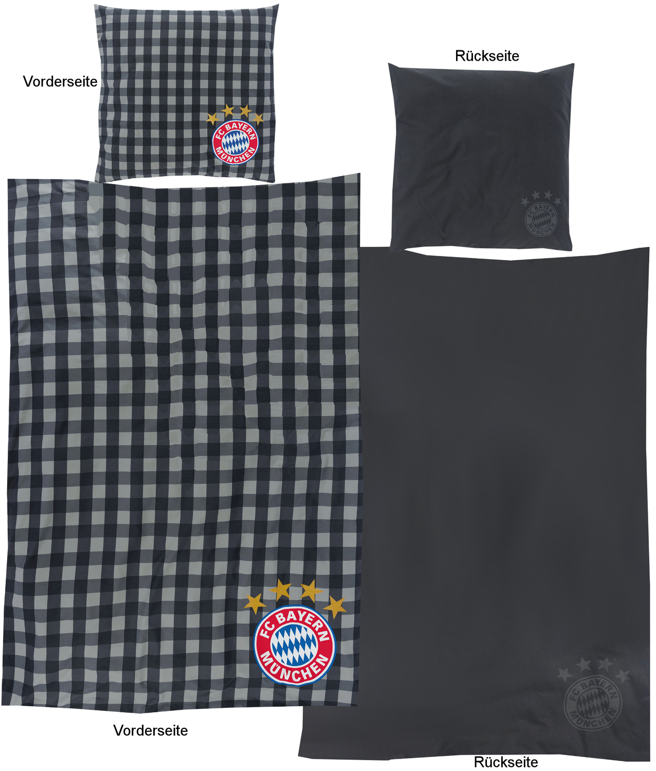 fc bayern m nchen bettw sche karos 135x200cm. Black Bedroom Furniture Sets. Home Design Ideas