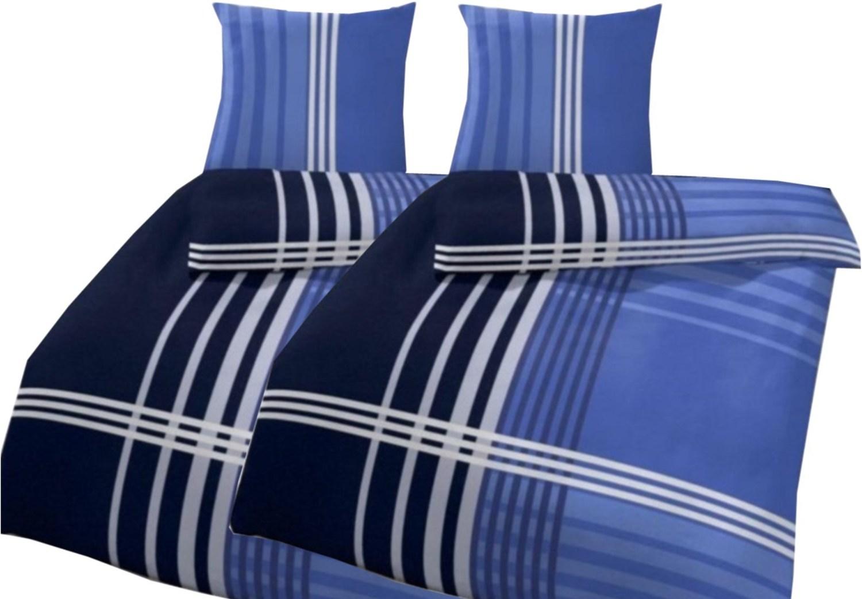 4 teilige bettw sche streifen blau 135x200cm biber. Black Bedroom Furniture Sets. Home Design Ideas