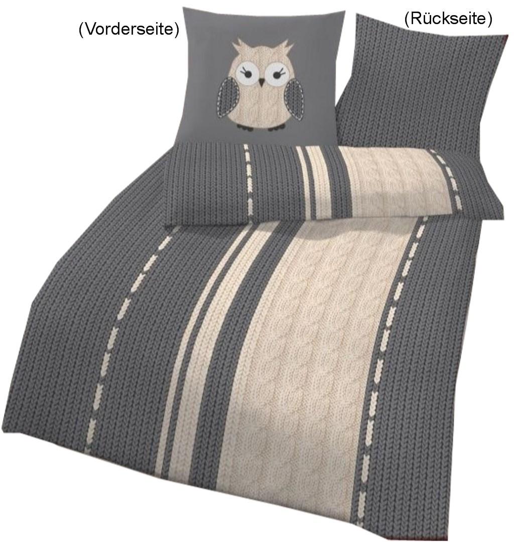 bettw sche eule strick silberfarben 135x200cm biber. Black Bedroom Furniture Sets. Home Design Ideas