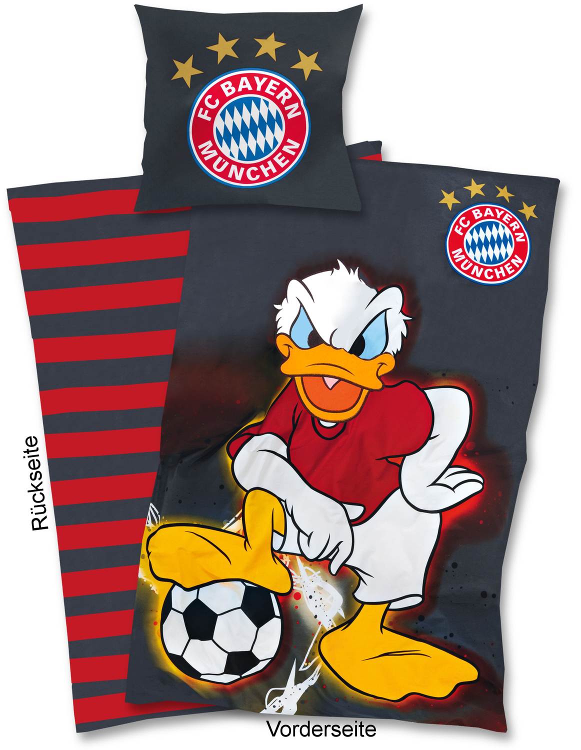 fc bayern m nchen bettw sche donald duck 135x200cm. Black Bedroom Furniture Sets. Home Design Ideas