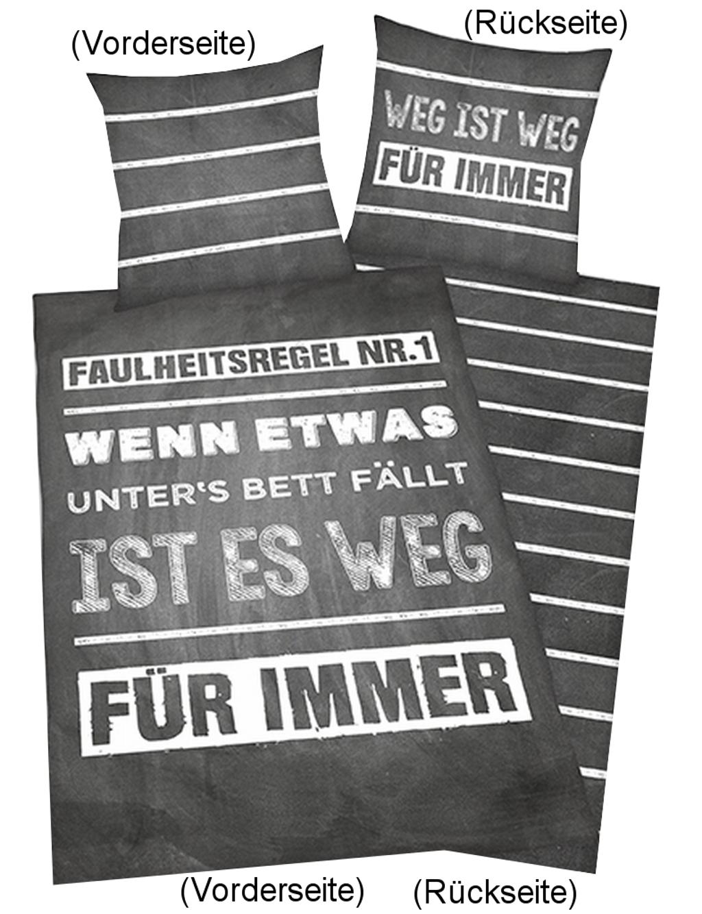 Bettwäsche Sprüche Faulheitsregel 135x200cm