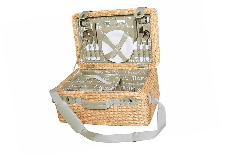 picknickkorb geflecht f r 4 personen 46x31x24cm. Black Bedroom Furniture Sets. Home Design Ideas