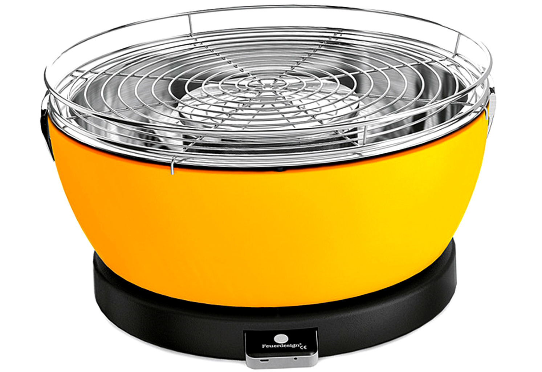feuerdesign holzkohle tischgrill vesuvio mit grillzange gelb. Black Bedroom Furniture Sets. Home Design Ideas