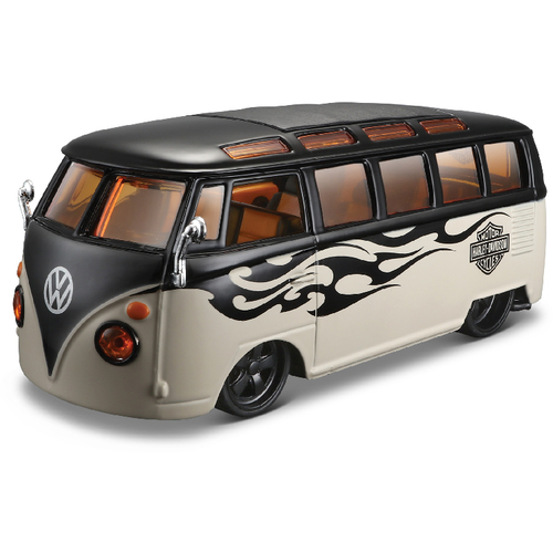 spielzeug auto vw bus samba harley davidson 1 24. Black Bedroom Furniture Sets. Home Design Ideas